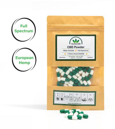 the-real-cbd-cbd-pulver-grønne-kapsler 450x400
