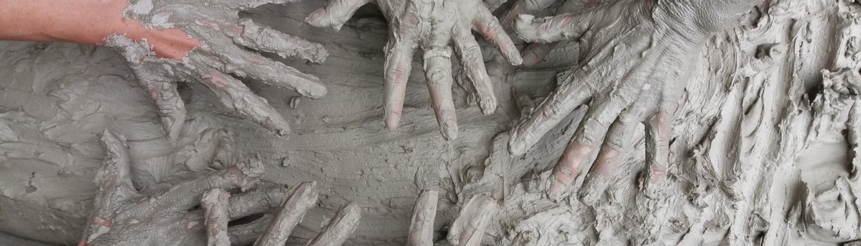 CBD Bentonite Clay hands